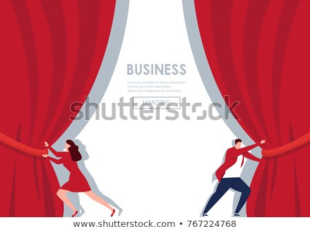 üzletember függöny pop art retro képregény rajz Stock fotó © studiostoks