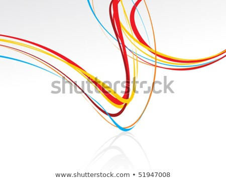 Stock photo: abstract curved wave rainbow lines background with the empty spa