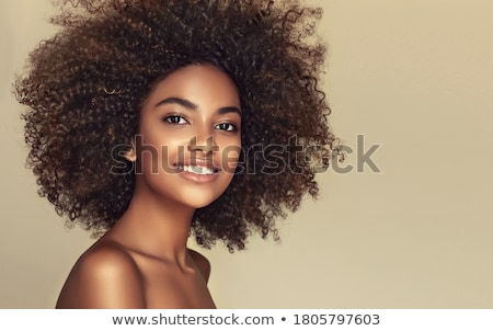 portré · boldog · nő · sötét · göndör · haj · visel - stock fotó © svetography
