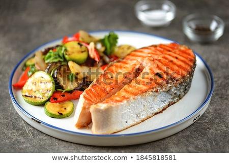 grilled salmon steak stock photo © m-studio