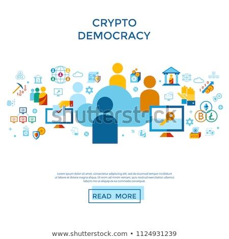 demokrácia · ikon · szett · digitális · vektor · biztonság · infografika - stock fotó © frimufilms