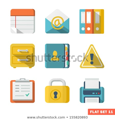document icon with lock flat design vector illustration stock photo © kyryloff