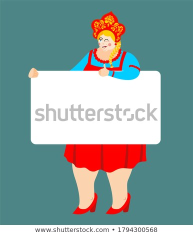 Girl in Russia national costume holding banner blank. Russian Pa Stock photo © popaukropa