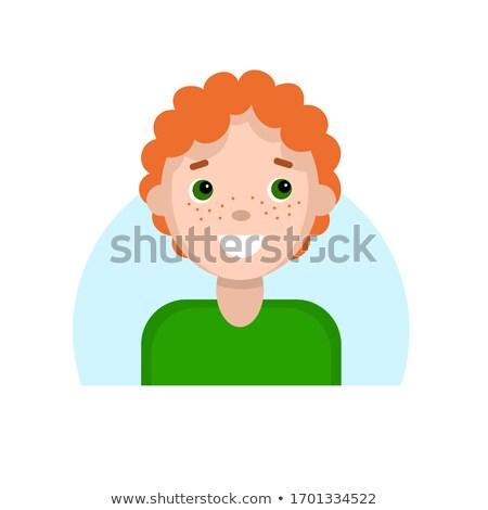 Piros fiú arc gyermek szeplők portré Stock fotó © popaukropa