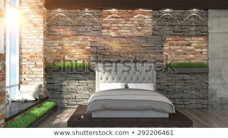 stijlvol · slaapkamer · moderne · stijl · houten · witte · muren - stockfoto © bezikus