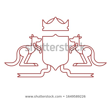 Kangaroo and Shield heraldic symbol. Australian Royal National E Stock photo © MaryValery