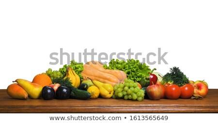 коллаж · свежие · фрукты · овощей · зеленый · продовольствие · яблоко - Сток-фото © artjazz