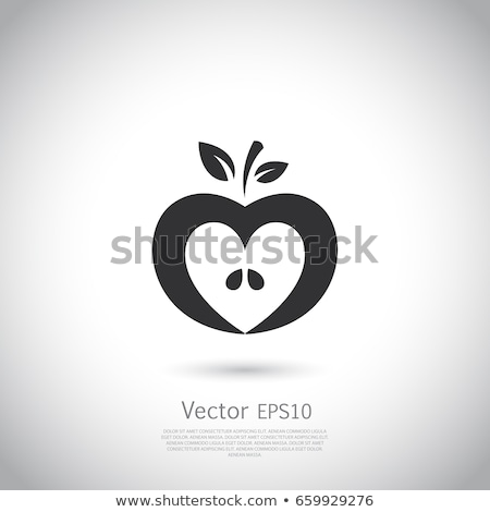fruit icon heart shape for organic food concept stock photo © cienpies