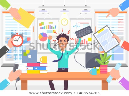 Angry Worker Due Lot of Different Works Color Card Stock photo © robuart