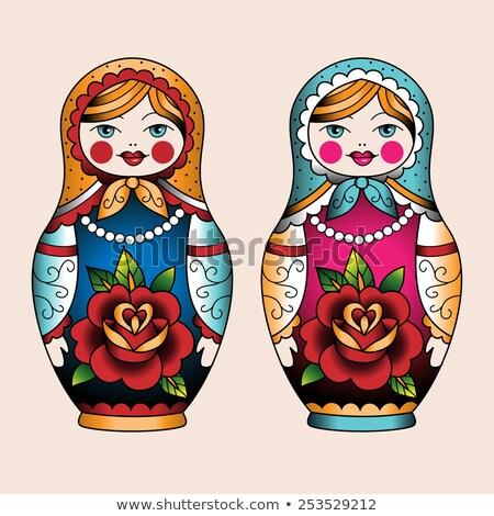 マトリョーシカ タトゥー ロシア 伝統的な 人形 古い ストックフォト © morys