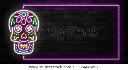Stock fotó: Neon · mexikói · ünnep · promóció · virág · fény