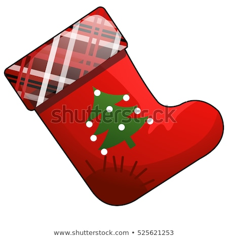 Christmas cartoon red boot of Santa Claus with patch isolated on white background. Vector cartoon cl Stock photo © Lady-Luck