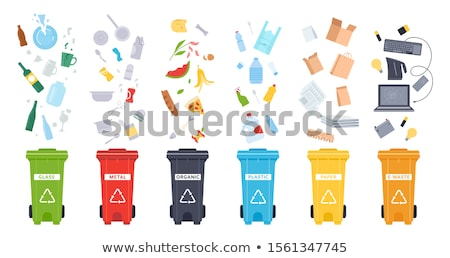 metal and paper waste isolated on white backdrop stock photo © robuart