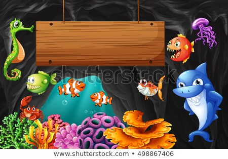 tengeri · állatok · úszik · vízalatti · illusztráció · hal · természet - stock fotó © colematt