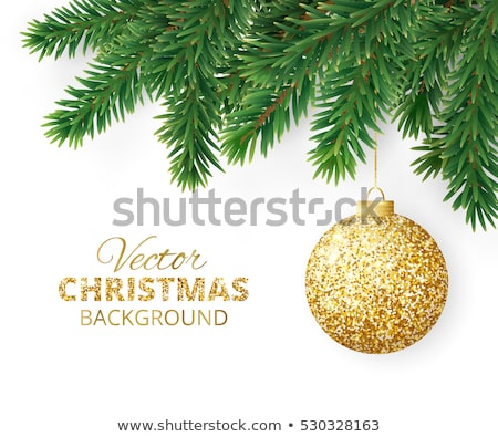 Christmas pine tree and gold bauble ornament card Stock photo © cienpies