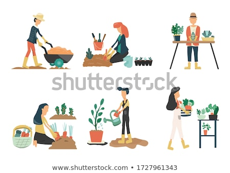 Farm Activities People Set Vector Illustration Stock photo © robuart