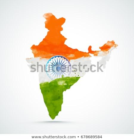 abstrato · tricolor · indiano · bandeira · aquarela · ilustração - foto stock © sarts