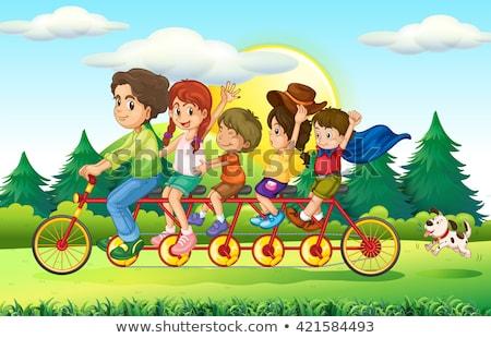 Family members riding on bike Stock photo © colematt