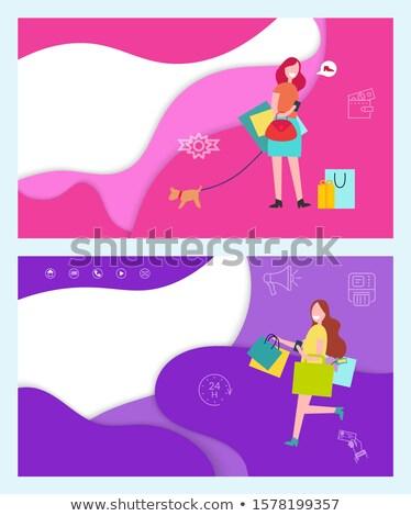 Shopping Glamour Lady Walking Dog on Leash Set Stock photo © robuart