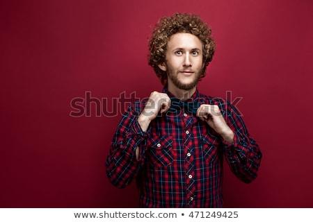 среднее · удивленный · портрет · человека · изолированный · белый - Сток-фото © deandrobot