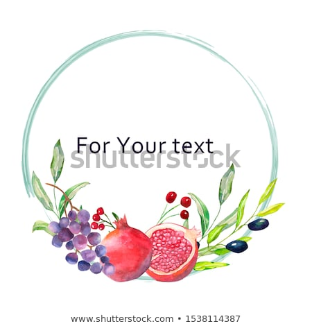 Stock photo: Tropical leaves frame. Circle frame. Watercolor illustration on white. Colorful floral round frame w
