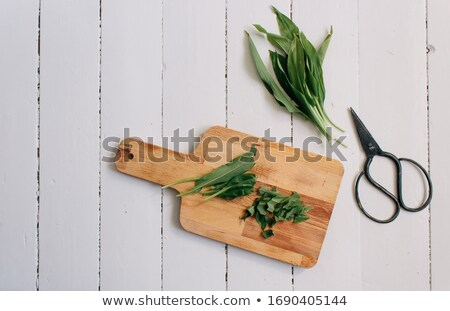 Fresh wild garlic leaves on a rustic background Stock photo © madeleine_steinbach