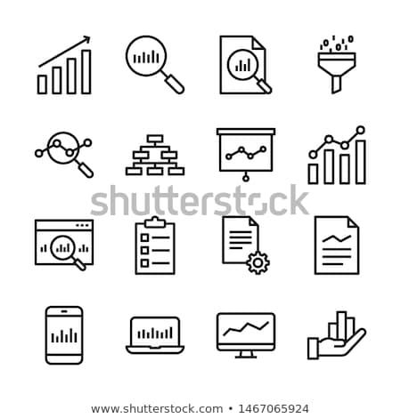 аналитика икона увеличительное стекло складе диаграммы цвета Сток-фото © angelp