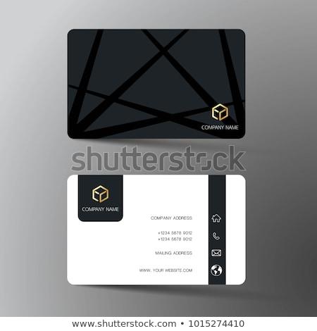 Abstract zwart wit visitekaartje sjabloon business kantoor Stockfoto © SArts