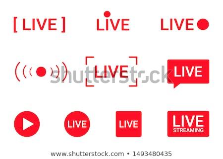 Rosso vivere in streaming icona isolato bianco Foto d'archivio © sonia_ai