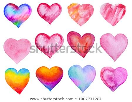 suluboya · valentine · kalp · vektör · el · boyalı - stok fotoğraf © odina222