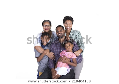 black girl child with grandmother in studio white background Stock photo © Lopolo
