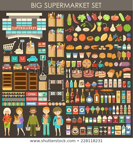 duży · zestaw · żywności · produktów · wektora · ikona - zdjęcia stock © netkov1