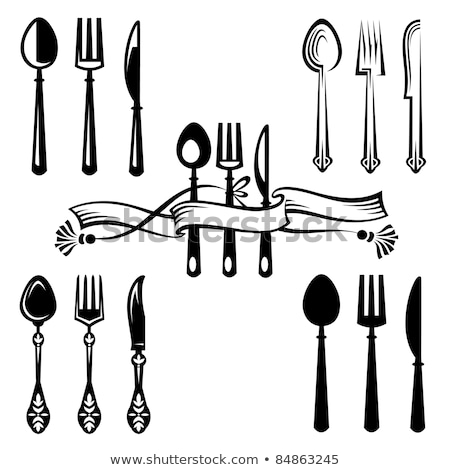 Plate with ribbon, spoon, knife and fork Stock photo © ElenaShow