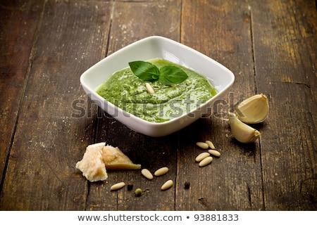 tigela · pesto · mesa · de · madeira · branco · comida · restaurante - foto stock © Alex9500