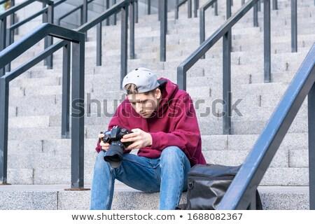 фото успешный бизнесменов Костюмы сидят лестница Сток-фото © deandrobot