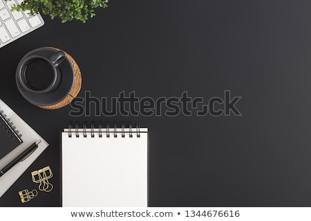Stock photo: Office workplace with coffee, supplies and computer