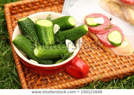 Házi készítésű friss sózott uborkák tál fonott Stock fotó © Melnyk