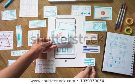 Main promoteur travail ui design bureau Photo stock © dolgachov