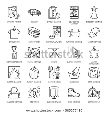 laundry service dry machine vector thin line icon stock photo © pikepicture
