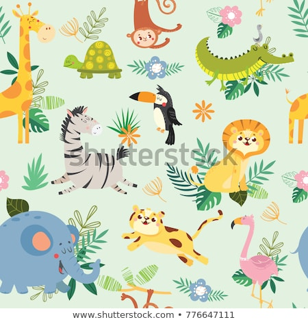 Seamless background design with children and wild animals Stock photo © bluering