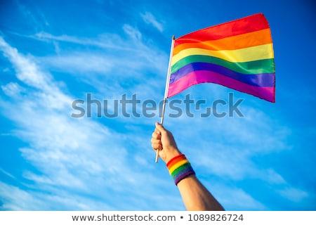 rainbow flag waving on the blue sky Stock photo © nito