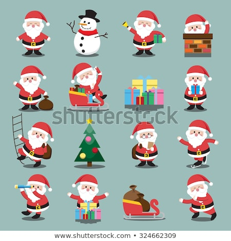 Santa claus and snowman by the chimney Stock photo © bluering