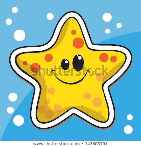 Sticker of Sea Star Cartoon on a Yellow Background Stock photo © cidepix