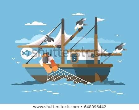 Pescador mar peixe ilustração água Foto stock © jossdiim