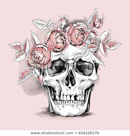 Schedel krans roze bloemen halloween creatieve Stockfoto © furmanphoto