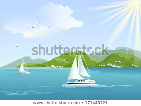 Hızlandırmak tekne yat deniz manzarası zevk Stok fotoğraf © robuart