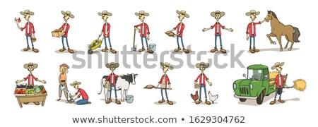 Rolnik rolniczy narzędzia zestaw pracy człowiek Zdjęcia stock © robuart