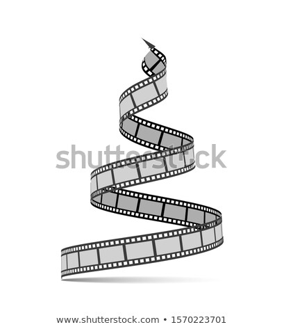 Filmstrip vorm kerstboom film reel gelukkig nieuwjaar film Stockfoto © m_pavlov