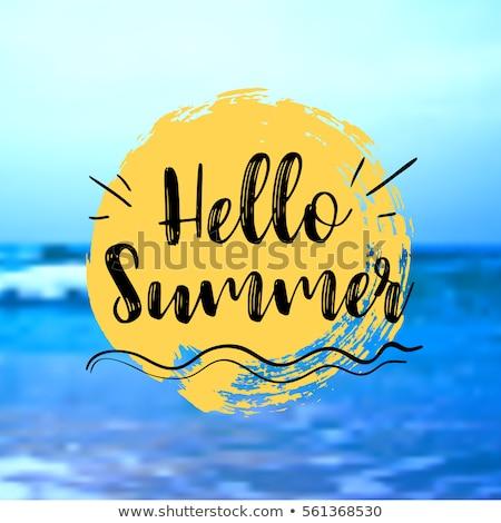 ünnep hello nyár pozitív felirat kék Stock fotó © barsrsind