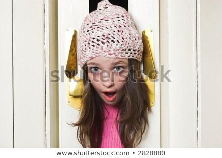 Meisje hoofd accordeon deur school Stockfoto © vladacanon